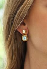 Siena Two Stone Earring Pearl and Aqua