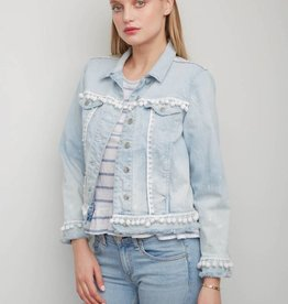 Denim Jacket with Pom Poms
