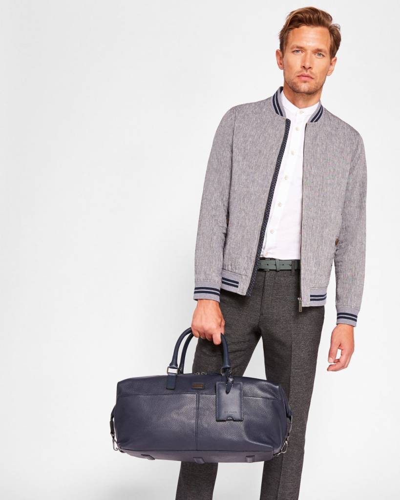 Ted Baker Ted Baker Tiger Navy Leather Holdall