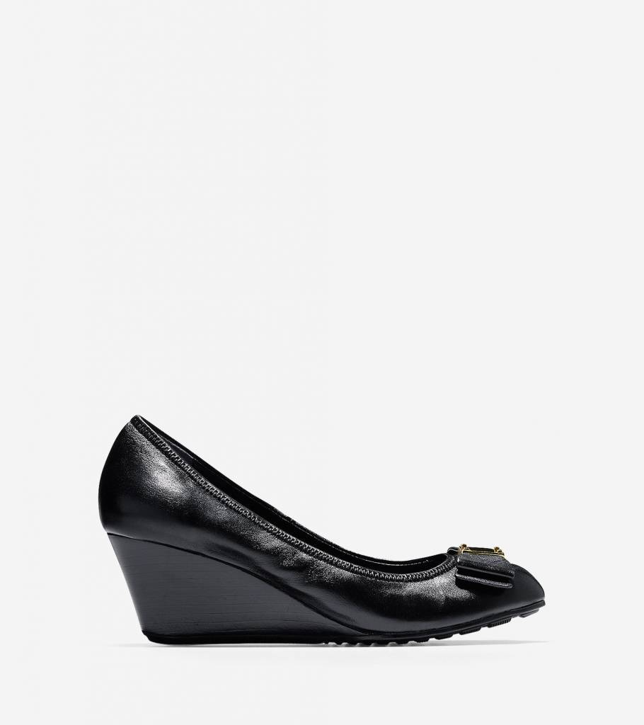 Cole Haan Cole Haan Tali Grand Waterproof Bow Black Wedge