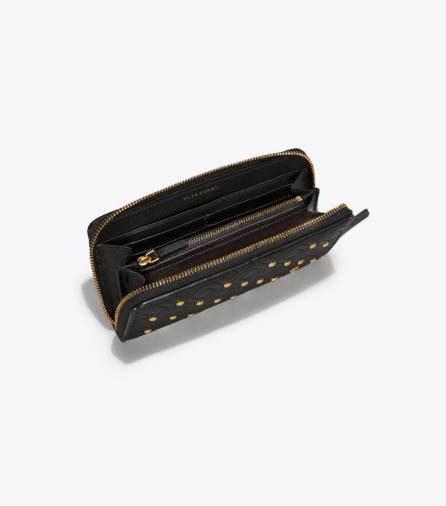 Tory Burch Tory Burch Fleming Stud Zip Continental Black Wallet
