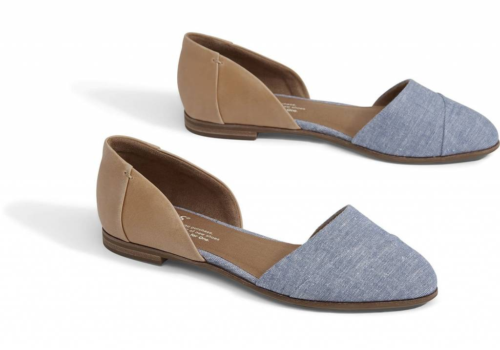 Toms Toms Jutti D'orsay Honey Leather/Blue Chambray Flat