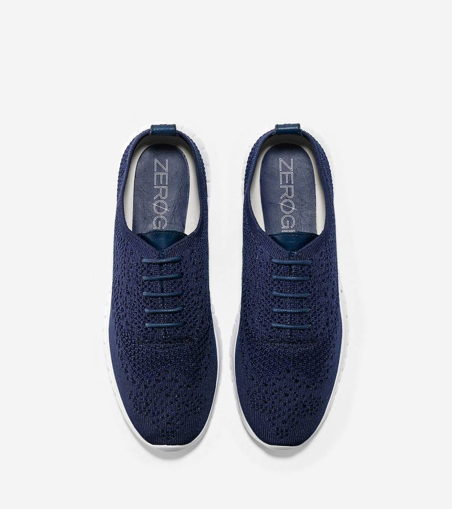 Cole Haan Cole Haan Zerogrand Wingtip Oxford With Stitchlite Marine Blue Knit-Optic White Casual Shoe