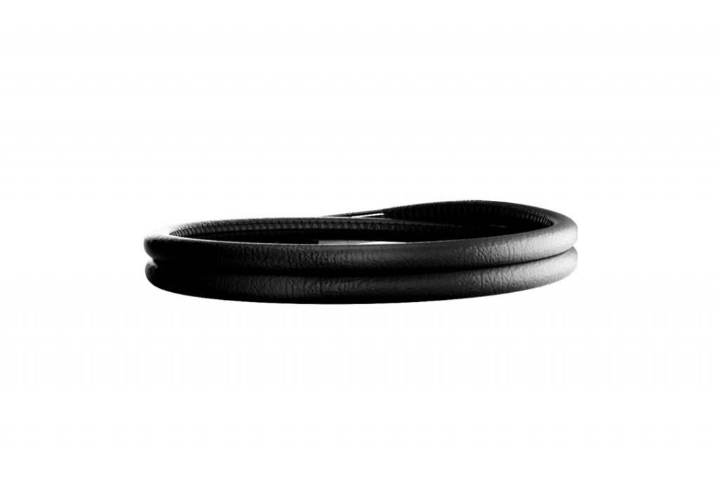Rebecca Double Wrap Leather Bracelet Black
