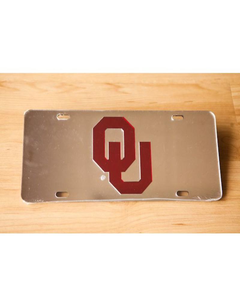 Craftique Craftique OU Crimson/Silver Mirrored License Plate
