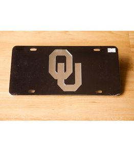 Craftique Craftique OU Silver/Black Mirrored License Plate