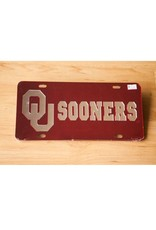 Craftique Craftique OU Sooners Silver/Crimson License Plate
