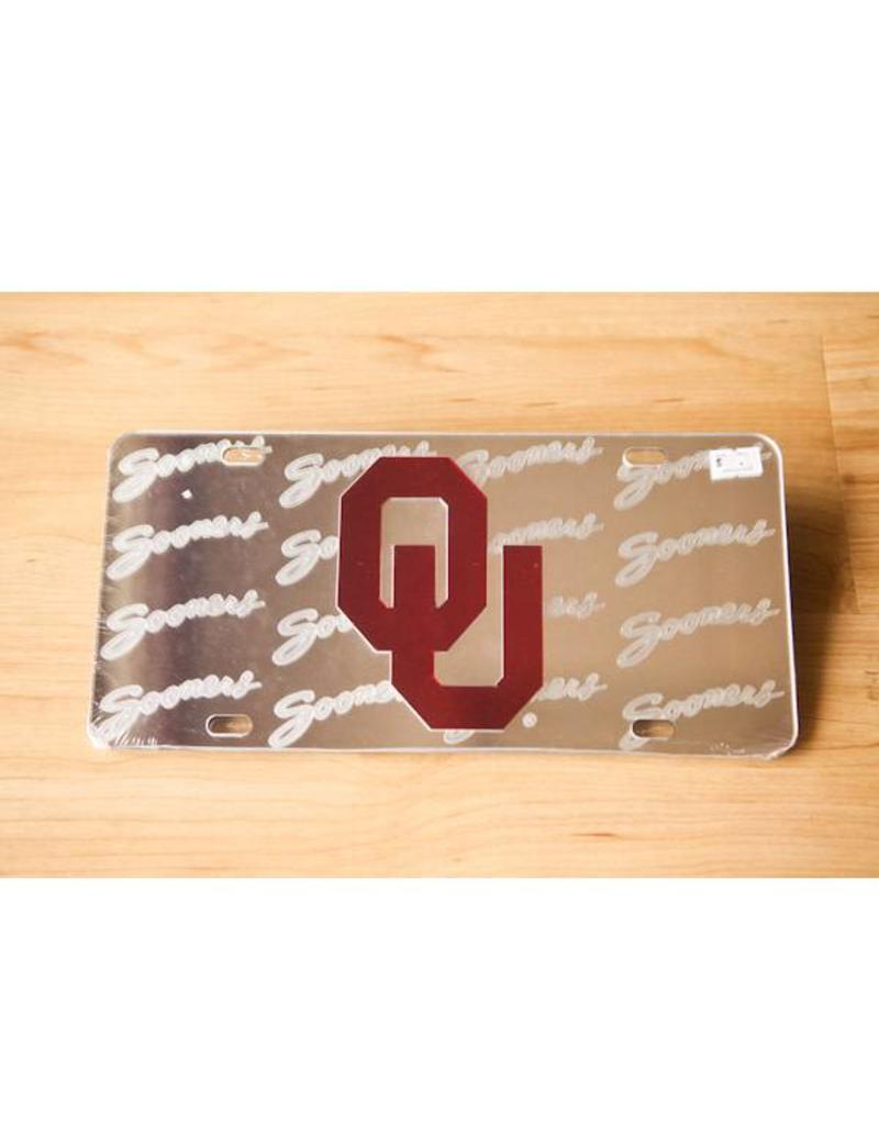 Craftique Craftique OU/Frosted Sooners Script Mirrored License Plate