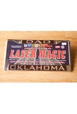 Laser Magic Dad/Oklahoma Mirrored Silver/Crimson License Frame