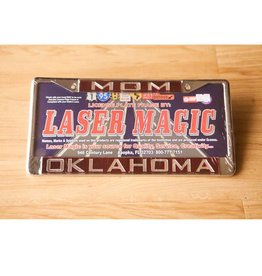Laser Magic Mom/Oklahoma Mirrored Silver/Crimson License Frame