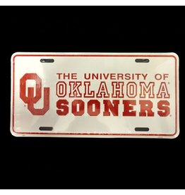 Jag OU University Of Oklahoma Sooners Tin License Plate Crimson/White