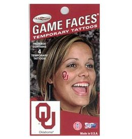 Game Face Game Faces Temporary Tattoo OU Peel & Stick