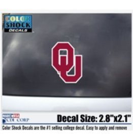 "Color Shock OU Crimson with White Outline Small Auto Decal 2.8""x2.1"""