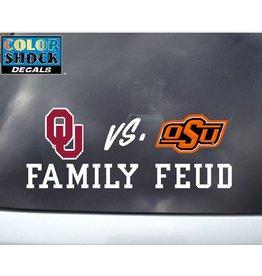 "Color Shock OU vs OSU Family Feud Auto Decal 2.5""x6.5"""