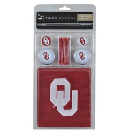 Team Effort OU Golf Gift Set (Towel, 2 Balls, 2 Ball Markers, 8 Tees)