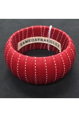 Crimson Fabric Ribbon Wrapped Wide Bangle