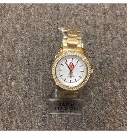 Jack Mason OU Women's Gold with Crystals Watch