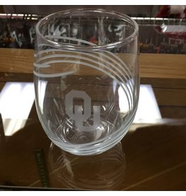 RFSJ OU Etched Swirl Pattern Stemless Wine Glass 12oz