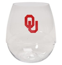 OU Plastic Stemless Wine Glass