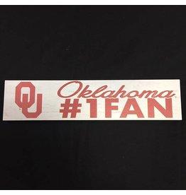 """KH Sports Fan Weathered 3""""x13"""" Wooden OU Oklahoma #1 Fan Plaque"""