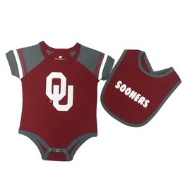 Colosseum Infant Colosseum Crimson & Grey Onesie with Matching Bib
