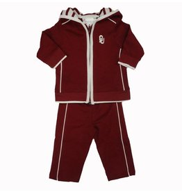 Two Feet Ahead Infant Two Feet Ahead Full Zip Hoody & Pant Set Crimson with White Trim