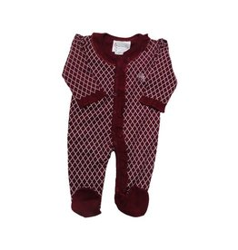 Two Feet Ahead Infant Two Feet Ahead Quatrefoil Crimson White Creeper Full Front Snaps