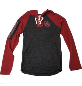 Colosseum Youth Colosseum Lace-up Hoody Tee Charcoal and Crimson