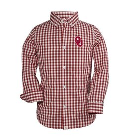 Garb Youth Garb Gingham Check Crimson/White Dress Shirt