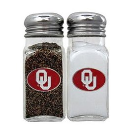 Siskiyou OU Emblem Glass with Metal Top Salt & Pepper Set