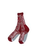 FBF FBF OU Sooners Bar Stripe Vert Crew Sock-Lg Mens 9-12