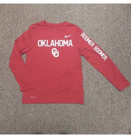 Nike Youth Nike Dri-Fit Long Sleeve Tee Boomer Sooner Sleeve