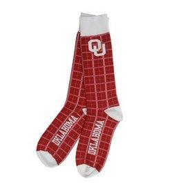 FBF Men's OU Crimson/White/Grey Dress Sock Lg. 10-13