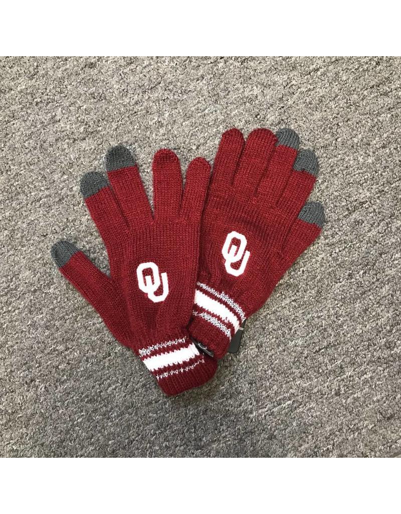 '47 Brand '47 Brand OU Crimson Knit Gloves with Silver Stripes