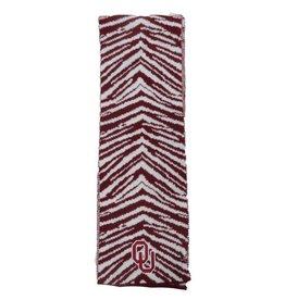 Top of the World Top Of The World OU Crimson & White Zebra Print Scarf