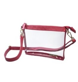 "Capri Designs Crimson/Gold No Logo Fashion Clear Small Crossbody 8"" x 6""x 1.6"""