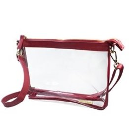 "Capri Designs Crimson/Gold No Logo Fashion Clear Large Crossbody 10""x7.25""x2.375"""