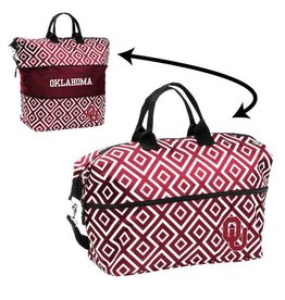 Logo Oklahoma Crimson & White Diamond Pattern Expandable Tote
