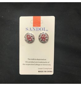Sandol Sandol OU Round Disk Silvertone Earrings