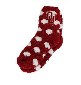 ZooZatz OU Girl's Fuzzy Dot Socks
