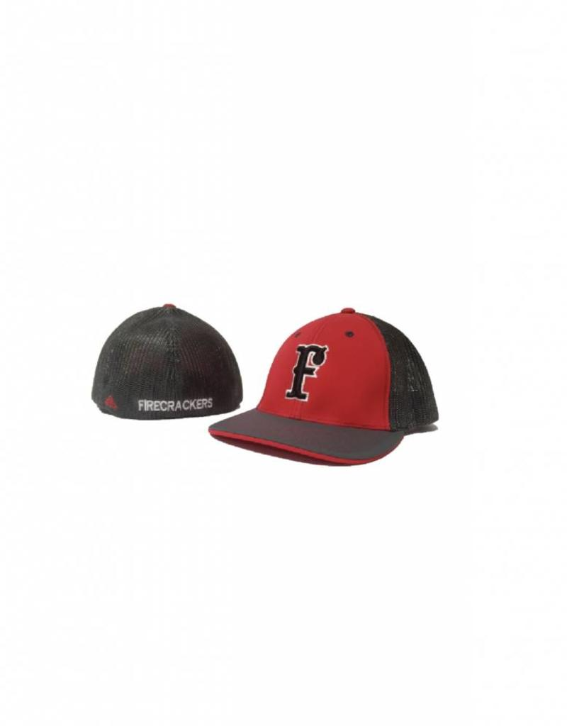 pacific headwear FC Trucker Fitted Hat (Red/Charcoal)