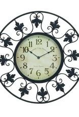 "Metal Outdoor Wall Clock with Fleur de Lis Accents 23"" Dia."