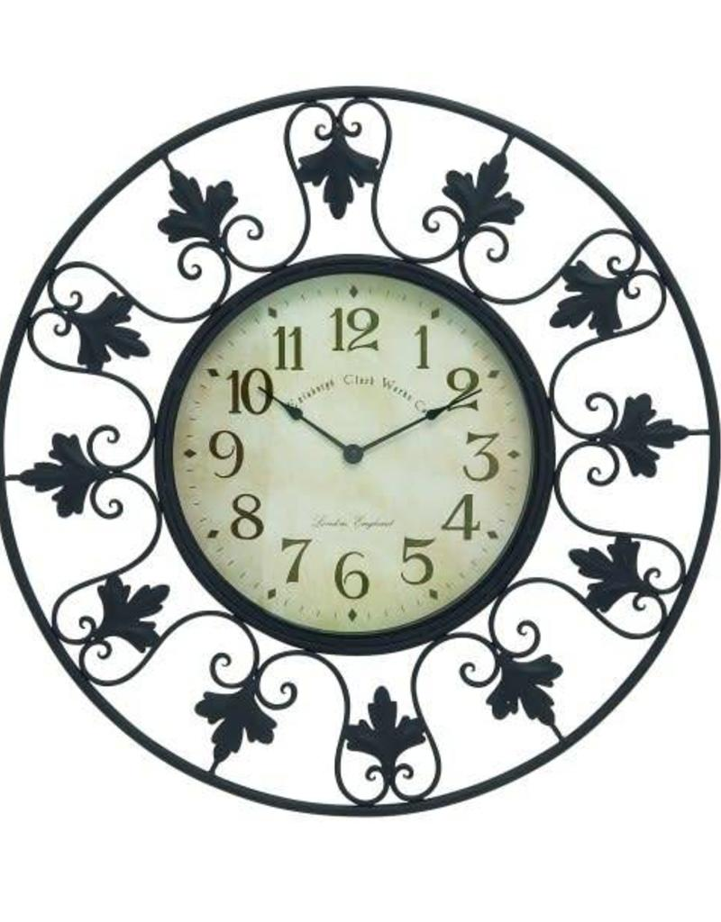 Metal Outdoor Wall Clock With Fleur De Lis Accents 23