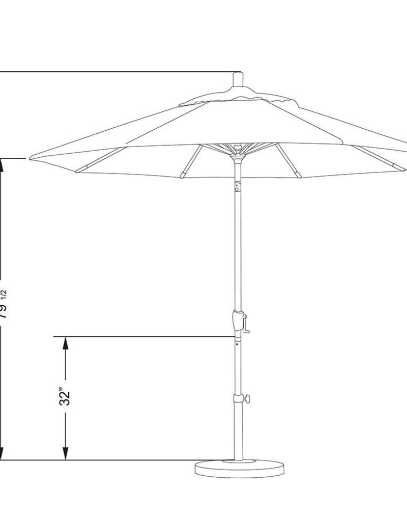 California Umbrella California Umbrella 9' Pacific Trail Series Patio Umbrella With Bronze Aluminum Pole Aluminum Ribs Push Button Tilt Crank Lift With Olefin Hunter Green Fabric