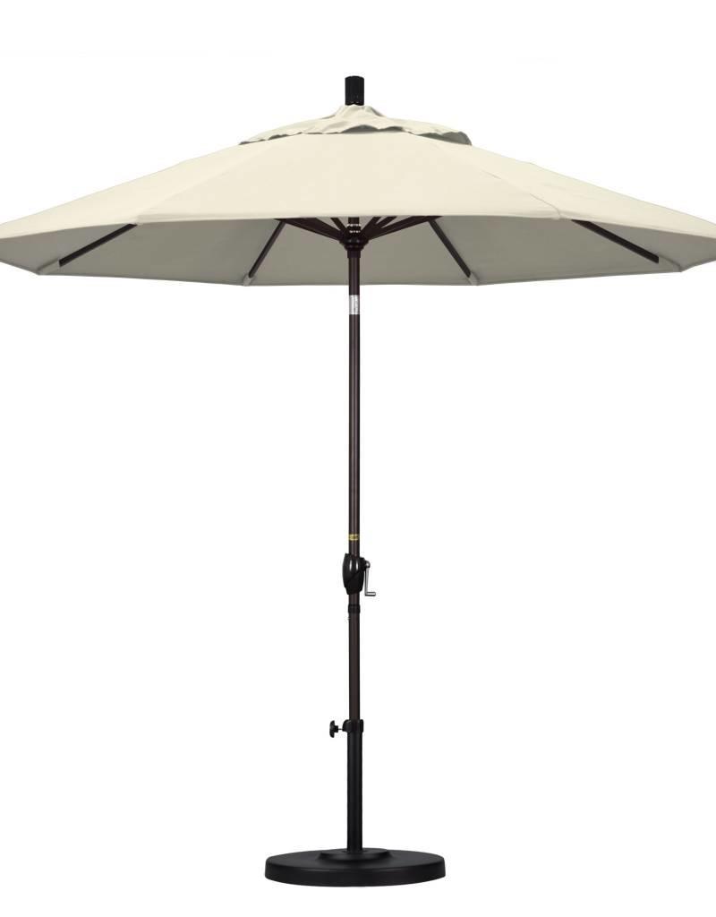 California Umbrella California Umbrella 9' Pacific Trail Series Patio Umbrella With Bronze Aluminum Pole Aluminum Ribs Push Button Tilt Crank Lift With Olefin Beige Fabric