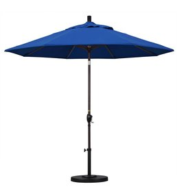 California Umbrella California Umbrella 9' Pacific Trail Series Patio Umbrella With Bronze Aluminum Pole Aluminum Ribs Push Button Tilt Crank Lift With Pacifica Pacific Blue Fabric