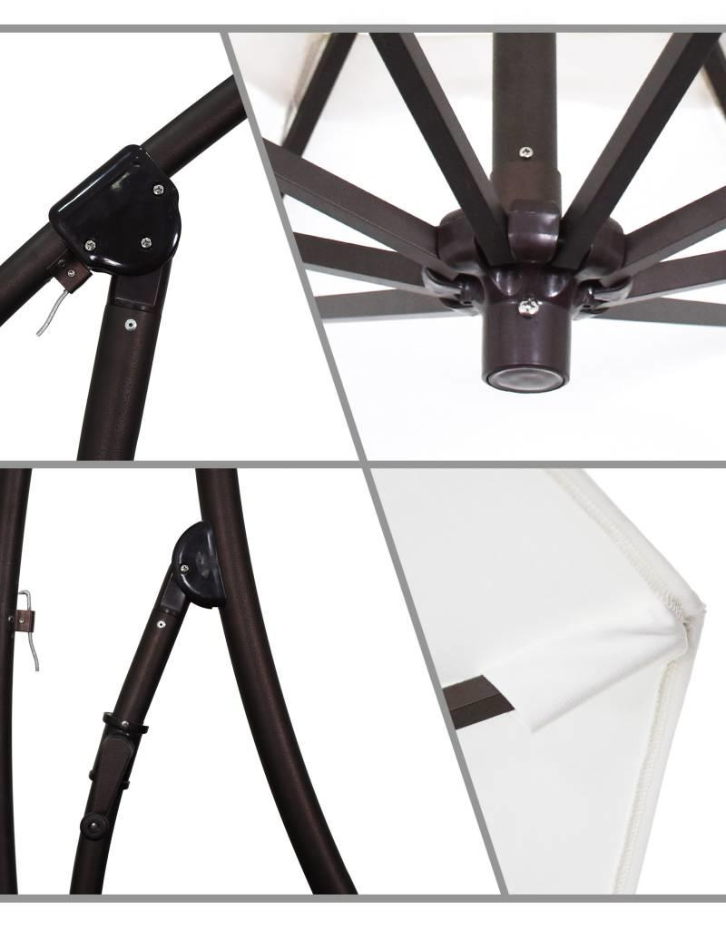 California Umbrella California Umbrella 9' Bayside Series Cantilever With Bronze Aluminum Pole Aluminum Ribs 360 Rotation Tilt Crank Lift With Pacifica Natural Fabric
