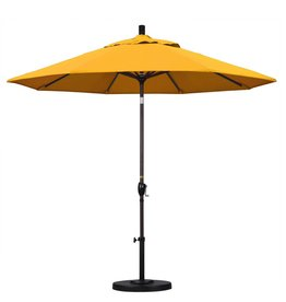 California Umbrella California Umbrella 9' Pacific Trail Series Patio Umbrella With Bronze Aluminum Pole Aluminum Ribs Push Button Tilt Crank Lift With Pacifica Yellow Fabric