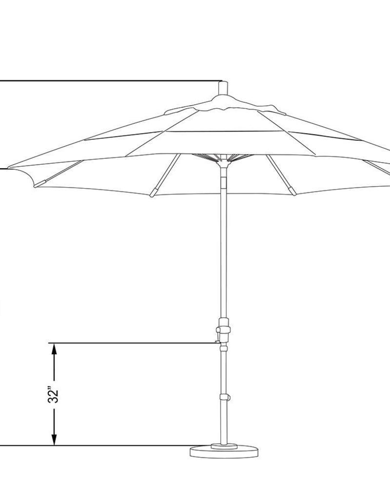 California Umbrella California Umbrella 11' Sun Master Series Patio Umbrella With Bronze Aluminum Pole Fiberglass Ribs Collar Tilt Crank Lift With Sunbrella Heather Beige Fabric