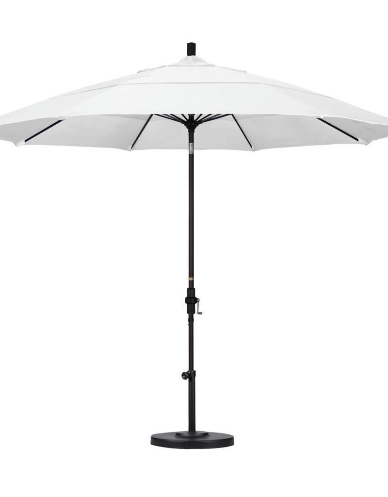 California Umbrella California Umbrella 11' Sun Master Series Patio Umbrella With Bronze Aluminum Pole Fiberglass Ribs Collar Tilt Crank Lift With Sunbrella Natural Fabric